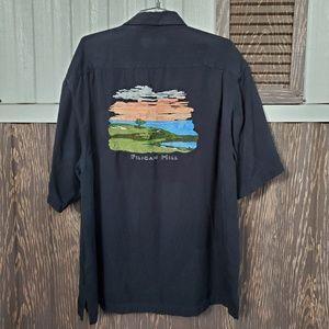 Nat Nast 100% silk black shirt embroidered sz XL